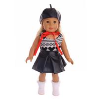 18 inç kız bebek toptan satış-Moda serin El Yapımı elbise suit + şapka fit 18 Inç Amerikan Kız Bebek Giysileri Aksesuarları