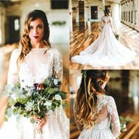 organza wedding dress black belt 도매-보헤미안 Desginer 국가 라인 웨딩 드레스 2019 쉬어 긴팔 보석 목 Appliques 신부 가운 Sweep Train BC0135