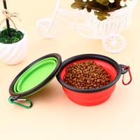 ingrosso acqua calda cane-2019 Hot Travel Pieghevole Pet Dog Cat Feeding Bowl Water Dish Feeder Silicone pieghevole 9 colori da scegliere