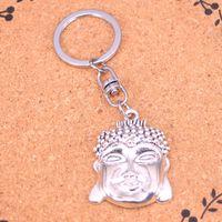 neuer buddha-ring großhandel-Neue Design Buddha Kopf Keychain Auto Schlüsselanhänger Ring Silber Anhänger für Mann Frauen Geschenk
