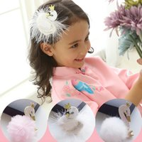 Wholesale Party Boutique Wholesale - Girls Hair Clips Stereo swan fur Barrettes Hair ornaments Fashion Show White Pink Party Hair accessories 2018 Boutique Accessories
