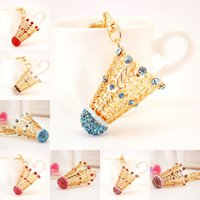 Wholesale badminton jewelry - 5 Colors Chic Badminton Keychain For Women Keychain Jewelry Key Chain Holder Ring Car Bag Pendant Charm keyring Free DHL D960Q