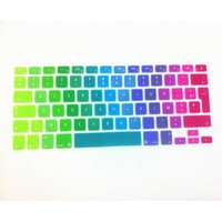 "Wholesale macbook keyboard uk - Dazzle Rainbow French AZERTY UK EU Silicone Keyboard Cover Skin Protector for MacBook Pro air with Retina Display13"" 15"" 17"""