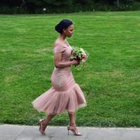 ingrosso abiti da damigella d'onore di tulle-Abiti da damigella d'onore 2018 Blush Pink Paese Off spalla Beach Wedding Party Guest Abiti Arabo Dubai Junior Maid of Honor Dress Cheap