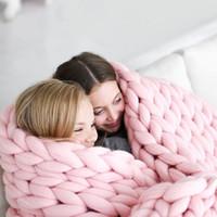 manta gruesa al por mayor-10 colores 60 * 60 cm mantas de punto grueso Manta de mano manufacturado sofá aire acondicionado cama tejida hilado Kinitted Throw fotografía manta