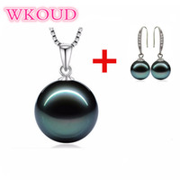 Wholesale pearl tahiti - S925 Sterling silver 10-12mm Perfect round Tahiti style pearl necklace+ Earrings set Fashion jewelry for women Free shipping