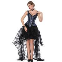 Wholesale woman costume corset online - Blue Black Steampunk Costume Women Corpetes E Corselet Sexy Corset Dress Victorian Gothic Clothing Dresses Burlesque Outfit
