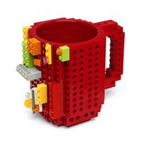 ingrosso mattoni in silicone-Tazza di latte creativo da 350ml Tazza di caffè creativo Mattoncini creativi Bicchieri da viaggio in plastica Bicchiere da acqua per Lego Building Blocks Design