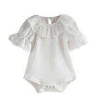 одно кружево с короткими рукавами оптовых-Flower Lace Crochet Collar Infant Toddler Baby Girls Short Flare Sleeve Solid Color Bodysuit Jumpsuit One Pieces Sunsuit Outfits