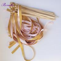 düğün değnekleri sopa toptan satış-50 adet / grup Pembe ve Altın düğün için değneklerini Twirling Flamalar düğün şerit sopa düğün dekorasyon