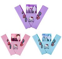 ingrosso set trucco rosa-Hello Kitty Set di pennelli per trucco + Custodia per specchietto ombretto tech blush Kit di pennelli Rosa per trucco Articoli per la toilette Elettrodomestici 8 pezzi / set