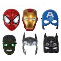 demir örümcek maskesi toptan satış-Oyuncak Avengers Aydınlık Partisi Maskesi Çalma Karikatür Iron Man Örümcek Adam Maskesi Rolü Sahne Çocuk Aydınlık Maskeler