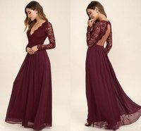 Wholesale Coral Skirts - 2017 Lace Burgundy Bridesmaid Dresses Chiffon Skirt Illusion Bodice Long Sleeves A-Line Junior Bridesmaid Dresses Cheap for sale