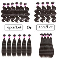 Wholesale Hair Grade Lengths - 10A Grade Brazilian Peruvian Human Hair Weaves Wet And Wavy Body Wave Straight 4 Bundles Or 6 Bundles Cheap Human Hair weft