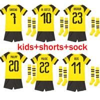 Wholesale boys gray socks - kids kit 2018 REUS PULISIC soccer jersey M.GOTZE GRAY MAILLOT DE FOOalitT YARMOLENKO 18 19 kagawa Batshuayi home football shirts +socks