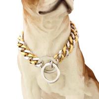 ingrosso collare di cane argento oro-Collare per animali da compagnia in argento oro catena di cane in acciaio inox lucidatura di alta qualità collari per cani animali forniture cucciolo kitty abbigliamento 42 tg gg