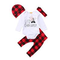kırmızı bebek şapkası toptan satış-Noel ins Çocuklar Bebek Erkek Kız pamuklu giysiler 4 adet setleri