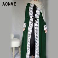 uzun kaftan siyah abayas toptan satış-Aonve Uzun Dantel Kırmızı Abayas İslam Kadın Djellaba Dubai Dantel Hırka Elbiseler Arap Bayanlar Açık Kaftan Müslüman Fas Siyah Abaya