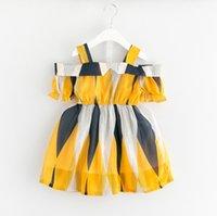 ingrosso vestito dalla banda gialla-Abito in cotone per bambina Vestito a costina per spiaggia Abito estivo per bambina senza culotte Abito per bambini vintage giallo