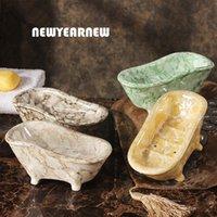 handgefertigte keramik großhandel-Newyearnew European Ceramics Soap Box Kreative Wc Form Hotel Seifenschale Handgefertigte Lagerung Von Einrichtungs Dekoration