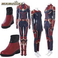 Wholesale 2018 HOT Movie Arrival Ms Marvel Captain Marvel Carol Danvers Cosplay Costume Outfit Halloween Suit Any Size Custom Made