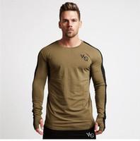 ingrosso cotone di marca-Nuova primavera estate nuovi uomini a maniche lunghe t-shirt in cotone raglan manica palestre abbigliamento allenamento fitness maschile moda casual marca tees top