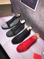 Wholesale denim diamonds shoes - Brand Comfortable Casual Shoes Black Diamond With Black Leather High Tide Men's Shoes Spikes Red Bottoms Sneakers Louisflats Size 35-48