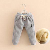 long thick leggings NZ - Cola Baby Pants Boys Girls Sport Pants Children Thick Winter Warm Long Trousers Baby Plus Velvet Leggings Kids 2-7Y