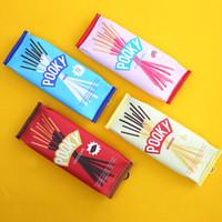 biscoitos de cracker venda por atacado-Criativo Bonito Cracker Box PU Saco De Lápis De Couro Pocky Biscuit Cookie Lápis Caso Saco Cosmético Maquiagem De Armazenamento