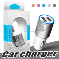 Wholesale iphone 5s metal - Metal Car Charger,Newest Design Dual USB car chargers Portable Travel Rapid Chargers Auto Adapter for Apple iPhone 6 Plus 6 5S 5 4S