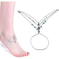 gümüş turkuaz ayak bileği bilezik toptan satış-Vintage Gümüş Renk Ayak Bileği Bilezik Ayak Takı Yalınayak Sandalet kadınlar Için İnci Halhal yaz plaj turkuaz halhal Bijoux 320134