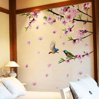 kuşlar çiçekler ağacı duvar toptan satış-Şeftali Çiçeği ağacı şubesi duvar çıkartmaları vinil DIY çiçekler kuşlar duvar dekorasyon odası dekorasyon için