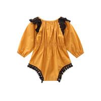ingrosso pagliaccetto giallo del merletto del bambino-Bella Neonata Vestiti della ragazza Manica lunga Pizzo Nappa Pagliaccetto Giallo Vestiti del bambino Toddler Bambini Tassel Tuta Un Pezzo Tuta Outfit
