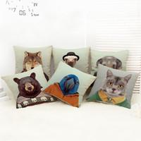 ingrosso cuscino cani-Cartoon Mr Animal Stampa Pillow Case 7 Styles Dog Cat Etc Animal Car Decorative Tiro Federa Federa