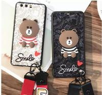 ayı kılıfı mobil toptan satış-Dantel peçe ayı cep telefonu kordon telefon kılıfı telefon koruma kapağı iPhone için
