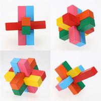 yapboz luban toptan satış-3D Ahşap Birbirine Bulmacalar Oyun Oyuncak Çocuk Yetişkin Bulmaca IQ Zeka Oyuncak Çin Kongming Luban Kilit Geometrik Bulmaca