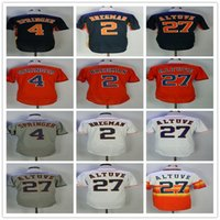 Wholesale alex white baseball - Men's Jersey 27 Jose Altuve 4 George Springer 1 Carlos Correa 2 Alex Bregman Men Basketball Champions Jerseys