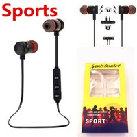 Wholesale Black Yellow Headphones - M90 Magnetic Bluetooth headphones Stereo Microphone Wireless Headset Sports Bluetooth earphones for Samsung S9 8 Iphone X 8 with retail BOX