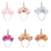 Wholesale bunny ear decorations for sale - Group buy Unicorn Horn Cloth flower Headband Sequin Bunny Ears Hair Band Bowknot Headband for Kids Unicorn Birthday Party Decoration