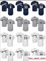 jersey de béisbol azul marino para hombre al por mayor-2019 mujeres de encargo para hombre de la juventud Majestic 9 Aaron Hill 33 Chris Carter 39 Chris Capuano Jersey Azul marino gris blanco Jersey de béisbol cosido