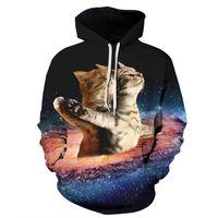 Wholesale plus size galaxy print tops online – oversize Men Women Hoodies Pullover Sweatshirts Long Sleeve Autumn Winter Brand Hooded D Print Tracksuit Plus Size Tops Galaxy Cat
