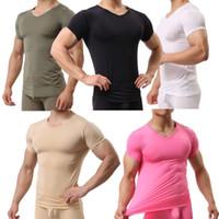 Wholesale breathable undershirt - Mens Bodybuilding Muscle T-shirt Basic Short Sleeve Undershirt Stretch Tops Tee Ultra Thin Casual Shirt Tanks