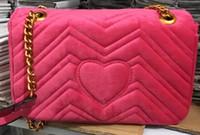 Wholesale Velvet Design - Free Shipping 2018 New Design Women's Velvet Bag Stripe Handbag Handbags Shoulder Chain Bags 5 Colors 26cm