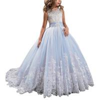 vestidos de niña bonita flor de plata al por mayor-Princesa Lila Larga Muchachas Vestidos del desfile de los niños Prom Puffy Tul vestido de bola