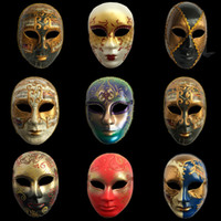 Wholesale male mask face paint for sale - Group buy Hanzi_masks Carnival Venetian masks Full face hand painted Italian adults Male female lattice mask Halloween decoration