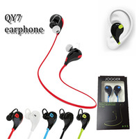auriculares qy7 al por mayor-vendedor caliente QY7 mini bluetooth estéreo estéreo a prueba de sudor deporte bluetooth neckband en los auriculares del oído con micrófono para iphone x samsung s9