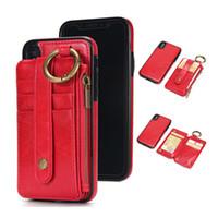 cubierta del teléfono celular bolsas al por mayor-2019 Nuevo para iPhone X 7 S8 Plus PU de cuero Wallect Case Protector de teléfono celular de lujo cubierta trasera magnética con bolsa de tarjeta