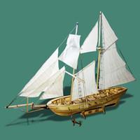 ingrosso navi a vela modello-Jigsaw Model Scale 1/130 Wooden Antique Sail Classic Modello di barca Kit di montaggio Modello di nave Giocattolo di intelligenza per bambini e ragazzi