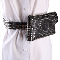 маленькие сумки для талии оптовых-2018 Rivets Waist Pack  Designer Fanny Pack chest bag Small Women Waist Bag Phone Pouch Punk Belt Purse