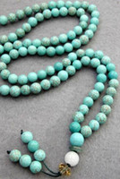 Wholesale turquoise blue bead necklace - 8mm 108 pcs Natural Blue Turquoise Beads Tibet Buddhist Prayer Mala Necklace